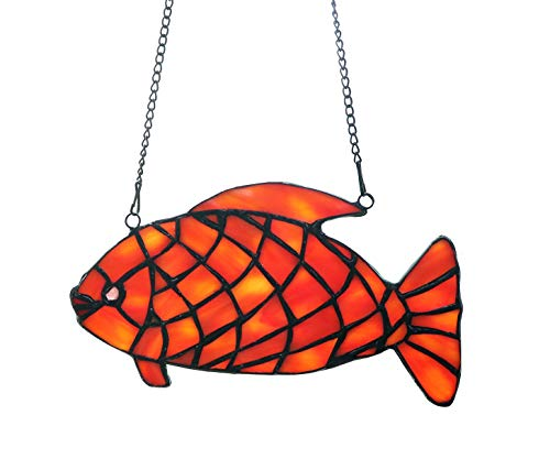 Alivagar Stained Glass Window Hangings Suncatchers Red Fish, 7