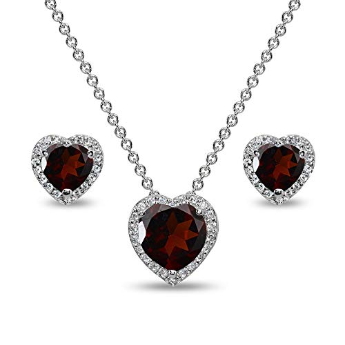 Sterling Silver Garnet and CZ Halo Heart Pendant Necklace & Stud Earrings Set