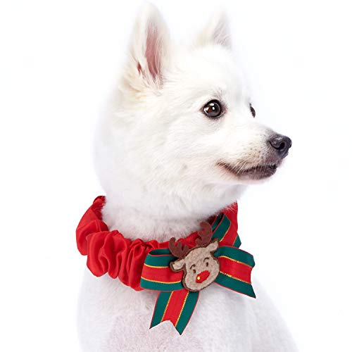 Pet Christmas Collar Dog Ribbon (Blueberry Pet 2018/2019 New Festival Fever Christmas Reindeer Dog Collar Cover for Small, Medium, Large Collars, Holiday Decorative Accessory for Pet Collar)