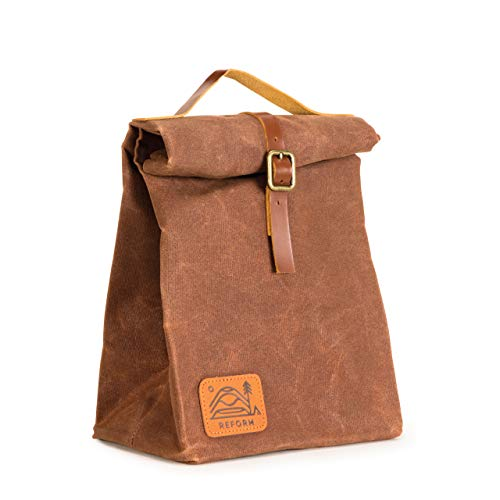 Reusable Waxed Canvas Lunch Bag | Eco Friendly | Insulated | Extra Durable | Water Resistant | Brown | for Men, Women & Kids