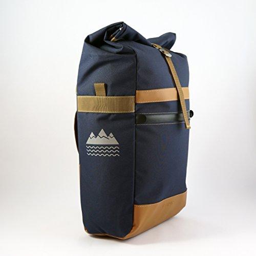 Velopac Waterproof Pannier Cycling Bike Bicycle Rear Rack Shoulder Bag 20L (Navy Blue/Brown) - Leather Shoulder Frame Bag