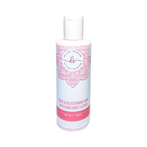 Skin Whitening Body Lotion - Kojic Acid & Glutathione Natural Skin Lightener with Vitamins and Plant Extracts SPF 30, 120ml