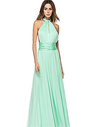 Choies Women's Gown Dress Mint Multi-Way Strap Wrap Convertible Maxi Dress - Mint Multi