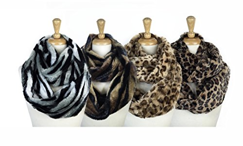 t Faux Fur Animal Print Warm Infinity Loop Circle Scarf -Diff Colors (Set(4piece)) (Diff Set)