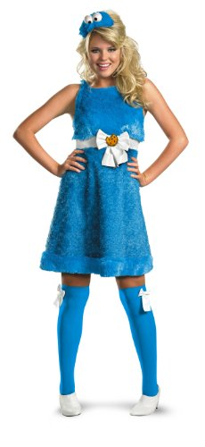Cookie Monster And Cookie Costume (Disguise Women's Sesame Street Cookie Monster Sassy Costume, Blue, Small)