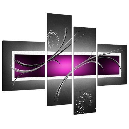 Purple Grey Black White Modern Design Abstract Canvas - Split 4 Part - 62 Inches Wide - 4092 - Wallfillers (Purple Art Black Print)