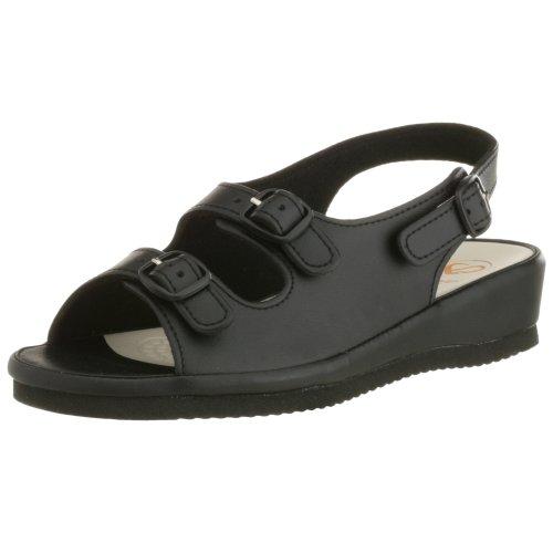 (pure walker] Comfort Backing Band Sandals PW7611 (Black/L))