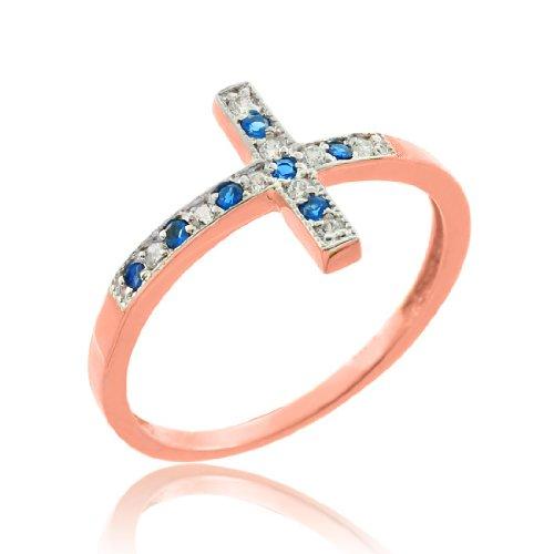 10k Rose Gold Diamond Sideways Cross Ring with Sapphire