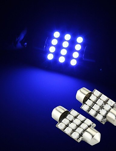 BPZKIWE 2 Bombillas LED Azules 12 SMD Festoon Interior cúpula 36 mm #-4728