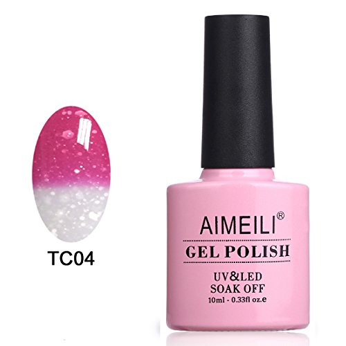 AIMEILI Soak Off UV LED Temperature Color Changing Chameleon Gel Nail Polish - Hot Pink to Glitter White (TC04) (Glitter Gel Nails)