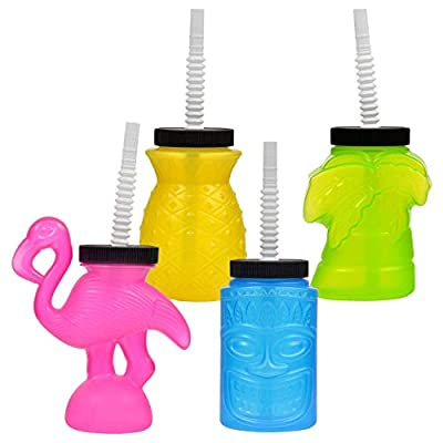 Teens Adult Kids Plastic (Bonus Exclusive Tropical Bliss) Luau Party Pineapple Tiki Palm Tree Flamingo Bar Sippy Cups Summer Fun Backyard Outdoor Play Playtime Pool Lake Beach - Set of 4: Toys & Games
