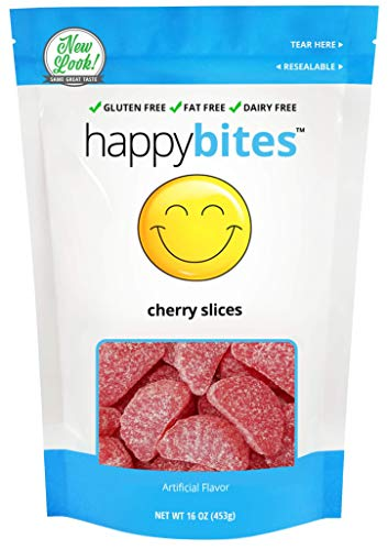 Happy Bites Cherry Slices - Gluten Free, Fat Free, Dairy Free - Resealable Pouch (1 Pound)