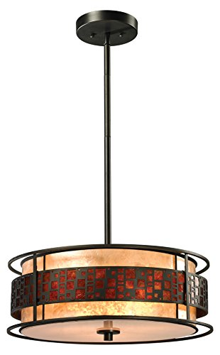 Z-Lite Z18-50P-C 3-Light Pendant with Metal Frame, White and Amber Mica