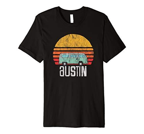 Austin, Texas - Vintage Hippie Van Road Trip T-Shirt