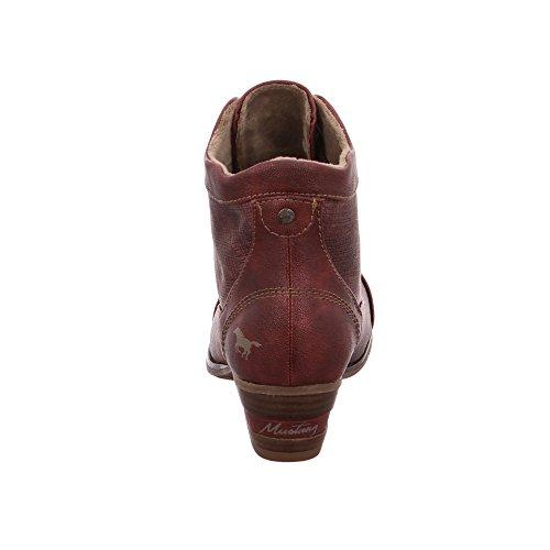 Mustang Damen 1187515 Rote Lederimitat Schnürboots Bordeaux