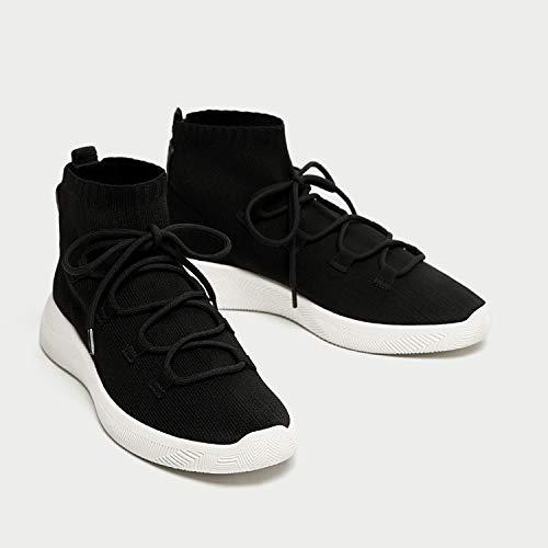 HOESCZS Botas Martin Zapatos De Mujer Otoño Otoño Otoño E Invierno Zapatillas para Correr Zapatillas con Suela Gruesa Calcetines Elásticos Ocasionales Botas, Negro, 39 19893a