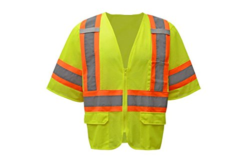CJ Safety CJHVSV3001Z ANSI Class 3 High Visibility Two Tone Safety Vest Zipper Closure 100% Polyester Mesh (Large, Green)