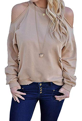Rond Shirt Col paules Confortables Uni Style Shirts Laisla fashion Dos Et Moderne Nu Chemisier Manches Mode Haut Femme Bouffant Manche Chemise Longues Casual Nues Elgante Dchir Aprikose Fille Classique 7OqY7n