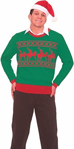 Forum Novelties Men's Reindeer Games Novelty Christmas Sweater, Green/Red, Medium