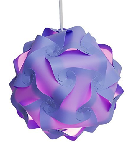 Puzzle Lights with Lamp Cord Kits , Self DIY Assembled Puzzle Lights Mordem Lampshade Iq Lamp Shades M Size (Home Decor Light) (Purple)