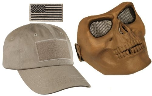 Ultimate Arms Gear Tactical Tan Combo Includes Operator s Military Baseball Cap  Hat With US Flag Patch  Full Protecive Death Skull Skeleton Adjustable Face  ... c14aa3b481c