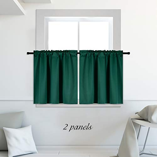 DONREN Window Curtains Tiers - Dark Green Blackout Curtain Valances for Living Room, 42-inch x 30-inch, Rod Pocket, 2 Panels