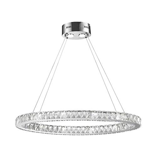 - Worldwide Lighting W83147KC34 New Galaxy LED Light Clear Crystal Oval Ring Non-Dimmable Chandelier, 34