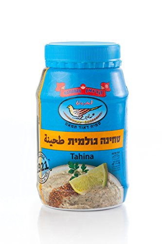 Honey Land 100% Pure Tahini Sesame Seed Paste Karawan Brand All Natural Kosher Traditional Middle Eastern Taste Delicious Made from Freshly Ground Raw Sesame Seeds by Honeyland