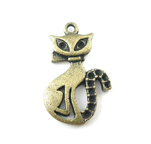 Metal Alloy Charm Pendants | Cat Antique Bronze Pendant | 26mm(1