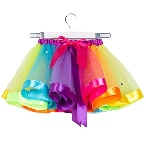 CJ Fashion Little Girls Layered Rainbow Tutu Skirt Bow Dance Ruffle Tutus Pettiskirt (J&l Dance Costumes)