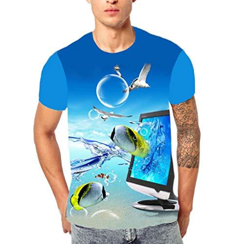 Interlock Turtleneck Cotton Print (FEDULK Men's Fashion T Shirt 3D Print Short Sleeve Round Neck Regular Fit Performance Tops Blouse (Blue, US Size XL = Tag 2XL))