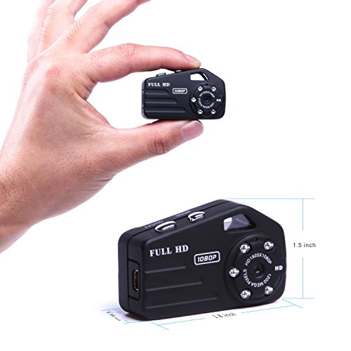 Infrared Night Vision Mini Hidden Spy Camera,Portable Nanny Camera HD 1080P with 120° Wide Angle,Wearable Small Tiny Spy Cam Wireless Outdoor/Indoor Sports DV Driving Recorder PC Camera Taking Photo (Spy Camera Small Very)