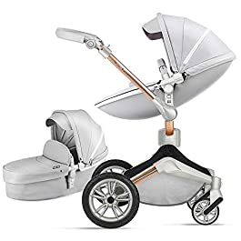 Baby Stroller 360 Rotation Function,Hot Mom Baby Carriage Pu Leather with Carrycot Pushchair Pram 2020,Grey