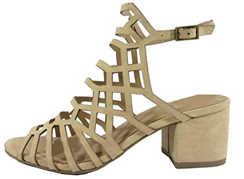 City Classified Womens Geometric Caged Cutout Chunky Heel Sandal Beige e77yp