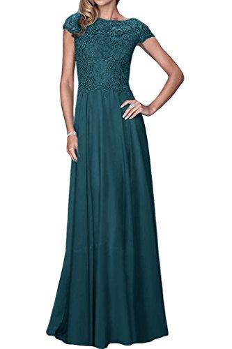 ivyd ressing Mujer Exquisite aermel corta a de línea gasa & Punta de largo Fiesta Vestido Prom para vestido de noche Blaugruen