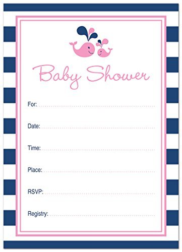 24 Cnt Pink Whale Splash Fill-in Baby Shower Invitations