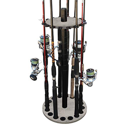 - Rush Creek Creations 16 Round Fishing Rod/Pole Storage Floor Rack Barn Wood Finish - Features Heavy Duty Steel Post - No Tool Assembly