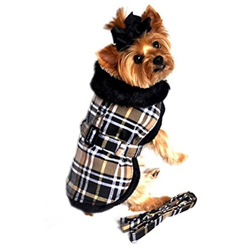 - Doggie Design Brown Classic Plaid Wool/fur Collared Harness Coat W/leash Size Small (Chest 13-16, Neck 10-13, Weight 6-10lbs.)