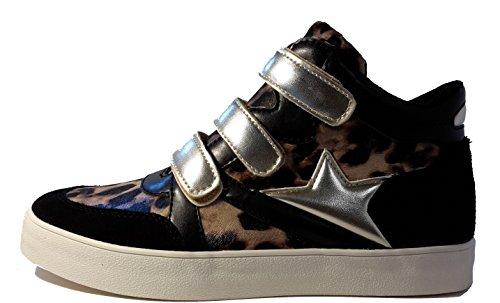3-W-Hohenlimburg Topmodische Damen Sneakers Übergangsschuhe mit dreifachem Klettverschluß. Schwarz oder Purple-Pink. Damenschuhe, SNE103, Schuh für Damen. Pfiffige Schuhe Zum Auffallen. Schwarz