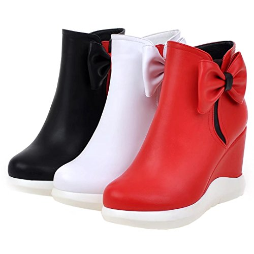 Women's Casual Wedge Toe Ankle With Black Platform AIYOUMEI Round Boots Bow gdqBKR