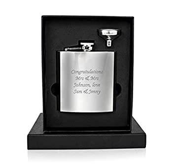 Personalised 6oz Hip Flask With Funnel In Presentation Box Ideal Birthday Wedding Gift