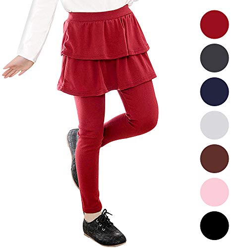 Auranso Kids Little Girls Footless Stretchy Leggings with Ruffle Tutu Skirt Tights Pants 2-10 Years Wine Red
