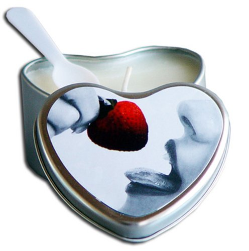 Strawberry Edible Massage Oil Heart Candle - 4 oz. by Sex Toys Online Store