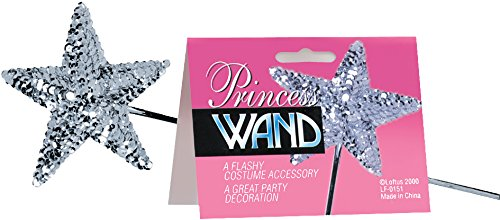 Star Power Flashy Royal Princess Sequin Wand, Silver, One Size (16