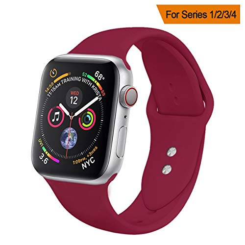 YC YANCH Compatible for Apple Watch Band,Soft Silicone Sport Band Replacement Wrist Strap Compatible for iWatch Series 4,Series 3/2/1,Sport,Edition,38mm 40mm S/M,Rose Red