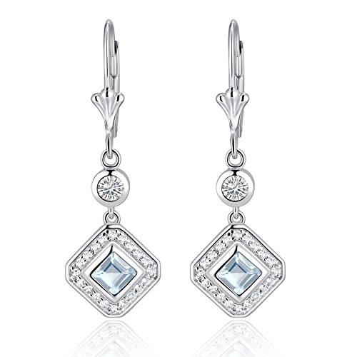 Aquamarine Dangling Earrings (Sterling Silver Square Emerald Cut Genuine Aquamarine & White Topaz Leverback Drop Earrings)