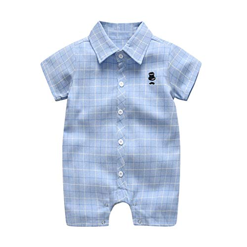 (LiLiMeng 2019 New Infant Baby Boys Short Sleeve Turndown Gentleman Plaid Print Button Short Fold Romper Jumpsuit Clothes Blue)