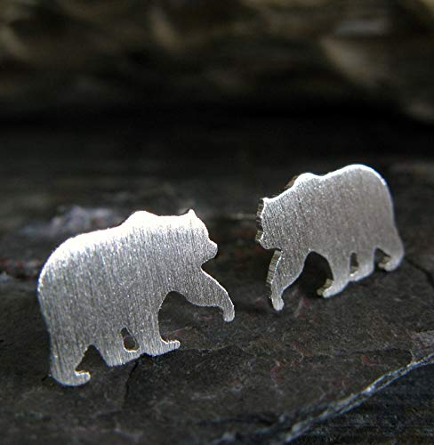 (Bear stud earrings brushed sterling silver post jewelry. Handmade in the USA.)