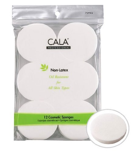 Cala Professional Non-Latex Cosmetic Sponges, For All Skin Types, 12 Count, (Pack of 3)