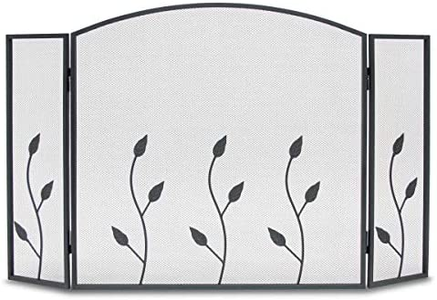 Napa Forge Vine 3 Panel Adjustable Fireplace Screen Guard, Black